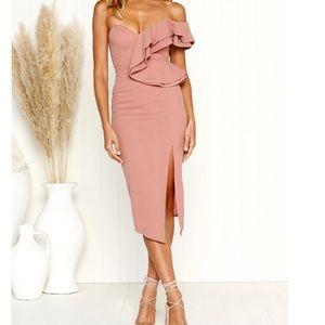 Blush one shoulder midi dress